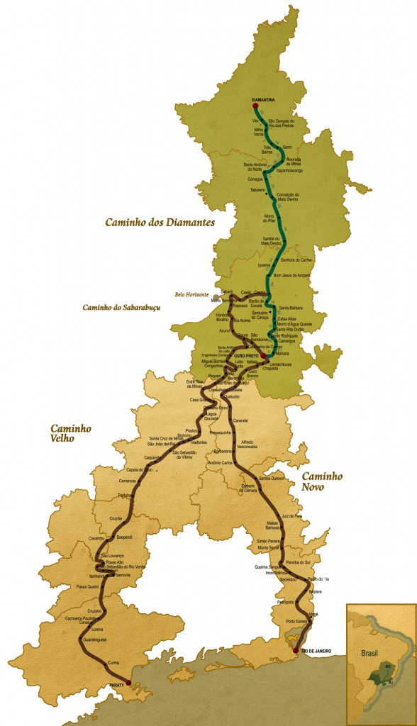 Mapa Estrada Real - Caminho dos Diamantes