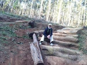 A temida descida com troncos de árvores atravessados. Na foto: Hélio Vilela